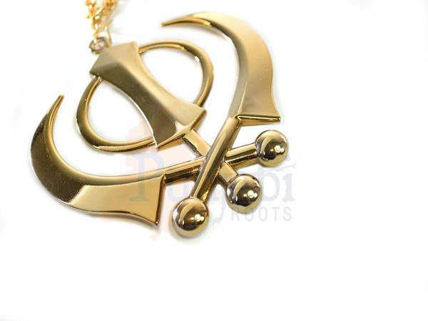 Punjabi Roots Khanda Car Chain Gold Large
